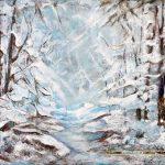 Dans les bois Acrylique / toile 14 po x18 po