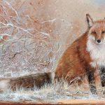 Le renard roux 20 po x 24 po Acrylique sur toile