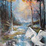 Légende du Cygne 48 po x 36 po Acrylique sur toile