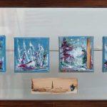 Origines IV 12 po x 24 po Plexiglass/bois/toile
