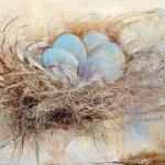 Nid d'oiseau aux œufs bleus 15 po x 30 po Toile montée
