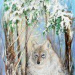 Le loup dans la forêt 30 po x15 po Acrylique sur toile