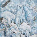 Légende des ours blancs 24po x 18 po Acrylique sur toile