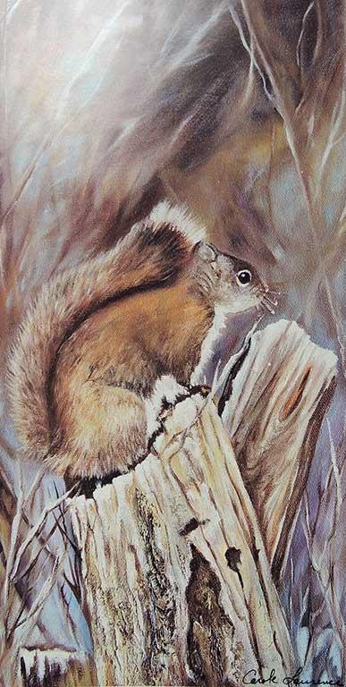 L'Écureuil au parc 12 po x 9 po Huile sur toile